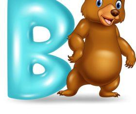 Bear and alphabet vector