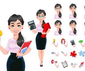 Beautiful successful business woman cartoon vector