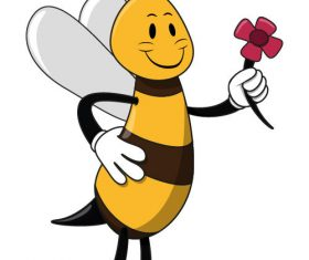 Bee icon vector holding flower