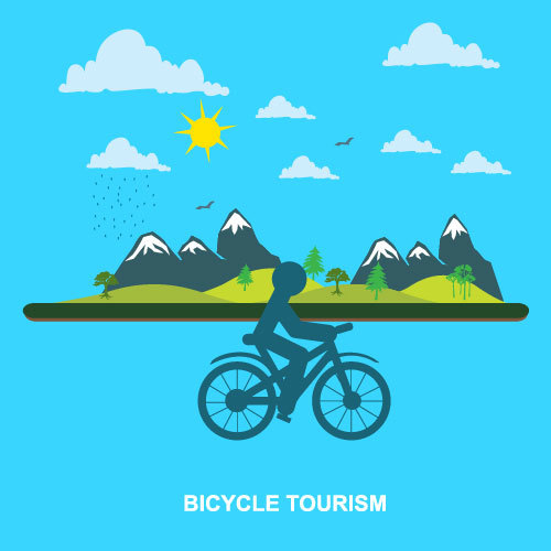 Bicycle travel concept vector