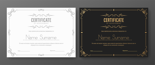 Black and white cover certificate vector