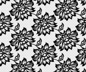 Black and white flowers patterns in vector