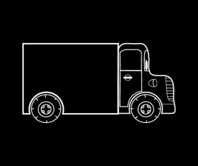 Black and white silhouette truck vector