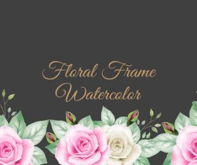 Black background flower watercolor painting vector