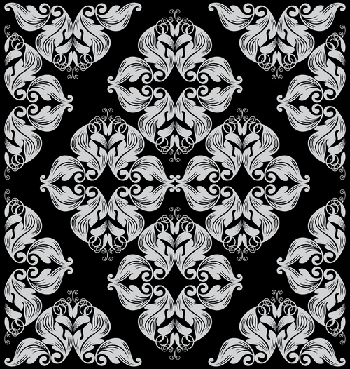Black decorated flower vector