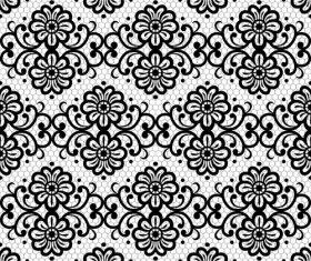Black flower knitting pattern vector