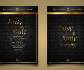 Black gold luxury modern wedding invitation vector card