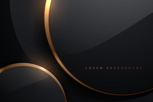 Black gold rim background vector