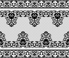 Black knitted flower decorative pattern vector