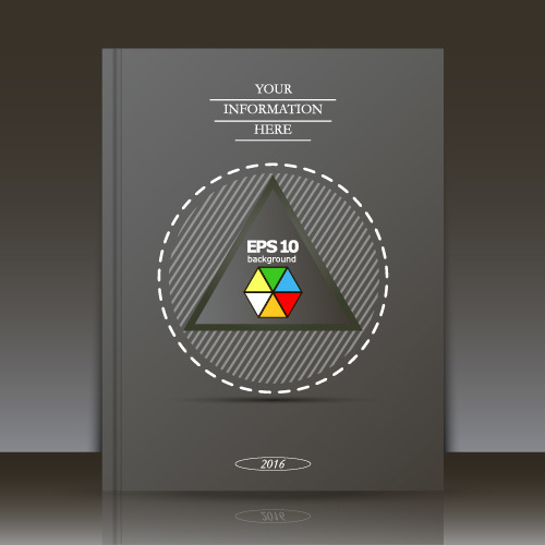 Black triangle pattern brochure background vector