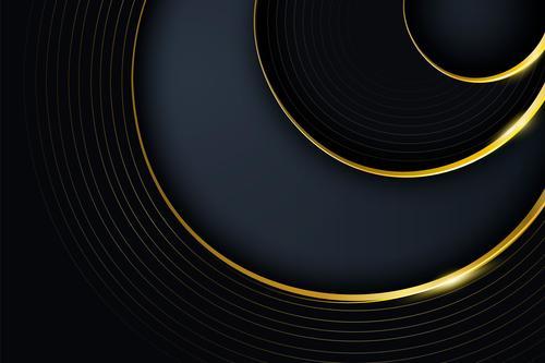 Black vector background golden arc