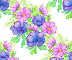 Blue and pink flowers seamless background vector