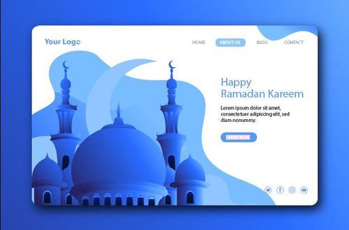 Blue login website page design vector