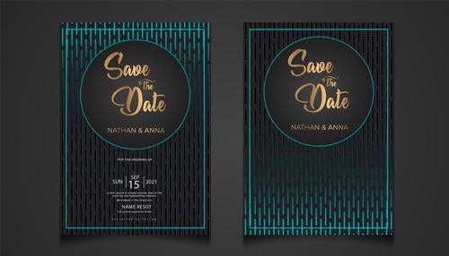 Blue modern wedding invitation vector card