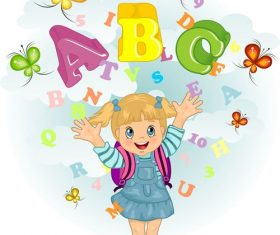 Book vector with letters and numbers