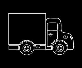 Box truck black and white silhouette vector