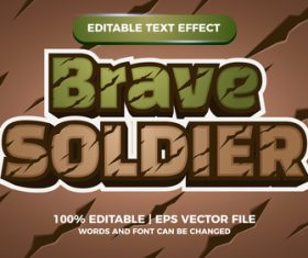 Brave soldier editable text effect comic games title vector