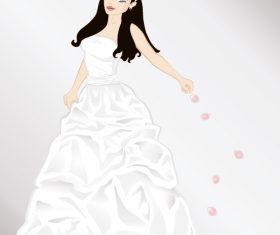 Bride throwing rose petals vector