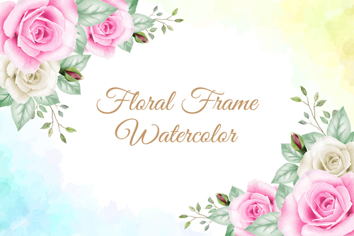Bright flowers watercolor painting vector background