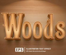 Brown editable font effect text vector