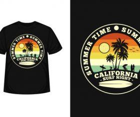 California surf night merchandise silhouette t shirt design vector