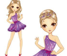 Cartoon character girl vector