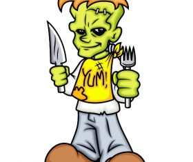 Cartoon character holding knife and fork in hand vector
