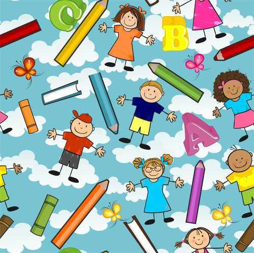 Cartoon children and pencil seamless background vector