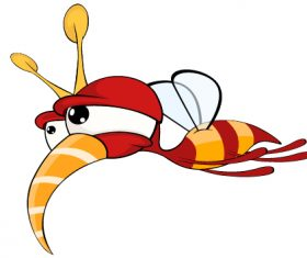 Cartoon illustration of a red fly insect vector