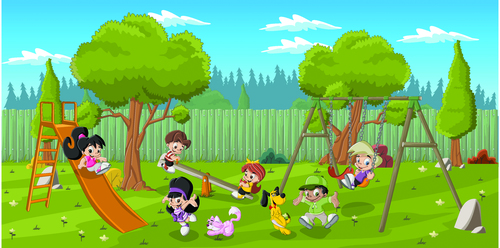 Cartoon illustration of amusement park kids vector