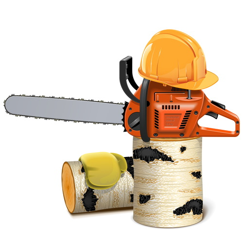 Chainsaw with helmet and birch firewood vector