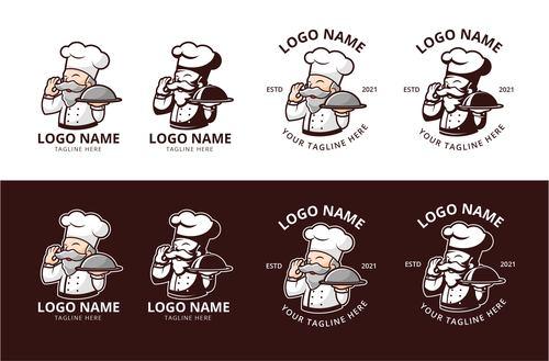 Chef old food logo vector