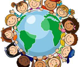Children around the world unity vector