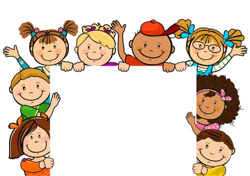 Children holding a square white board vector