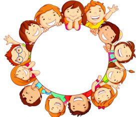 Children in a circle cartoon illustration vector