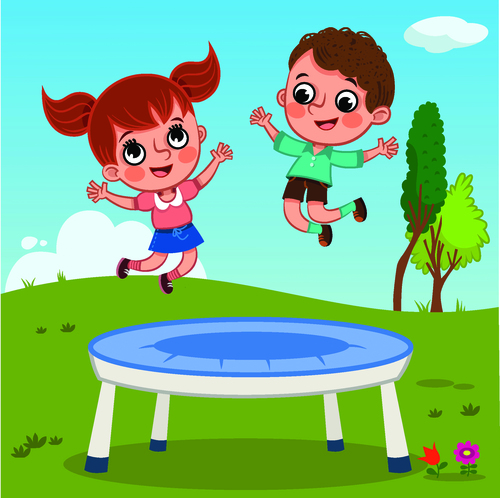 Children playing bouncing bed cartoon illustration vector