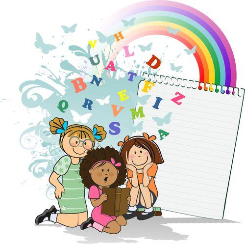 Children reading fantasy vector