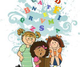 Children reading vector book