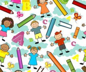 Children seamless cloud background vector