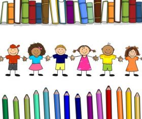 Childrens books with color vector