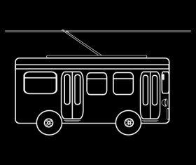 City bus black and white silhouette vector