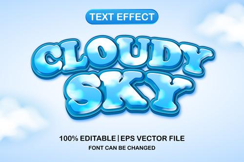 Cloudy sky 3d editable text style vector
