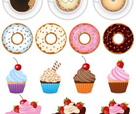 Coffee and macarons and cake vector