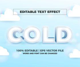 Cold editable text effect vector
