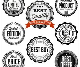 Collection of vintage badges vector