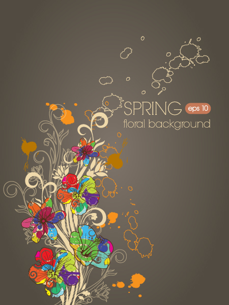 Color drawn floral background vector