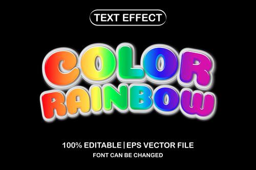 Color rainbow 3d editable text style vector