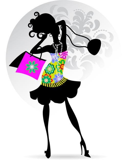 Color skirt girl silhouette vector
