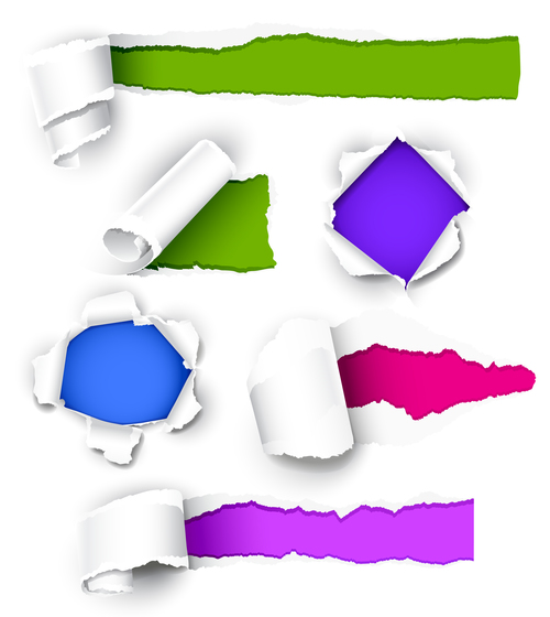 Colorful background white torn paper vector