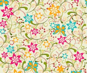 Colorful flowers seamless background vector